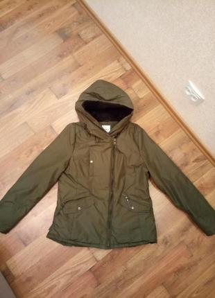 Куртка осень зима теплая хаки оливковая парка