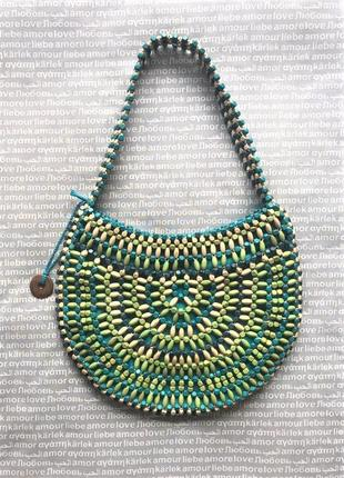 Сумка плетеная макраме деревянная из бусин на плечо бохо хобо купить цена