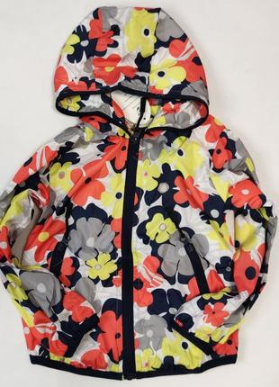 Демисезонная детская куртка ветровка для девочки красные цветы 2-6 лет 8806-3