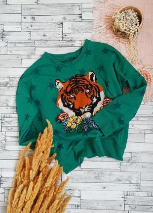 Свитшот в звезды с вышивкой тигр цветы next
