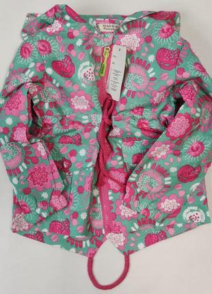 Демисезонная детская куртка ветровка для девочки зеленая цветы 3-7 лет 0811-4