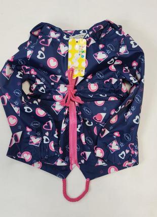 Демисезонная детская куртка ветровка для девочки синяя сердечки 2-6 лет 1931-2