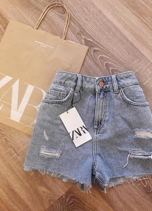 Трендовые джинсовые шорты на высокой посадке  zara