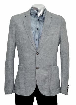 Мужской однобортный трикотажный пиджак с заплатками zara. код 2574