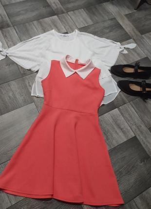 Платье для школы и повседневных ношений,с воротником
