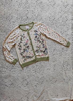 Трикотажная хлопковая кофта с принтом птицы, цветы country rose