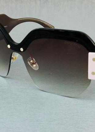 Miu miu очки женские солнцезащитные большие коричневые с градиентом