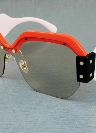 Miu miu очки женские солнцезащитные большие розовые с красным с градиентом