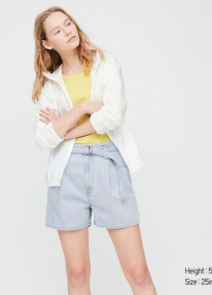 Женские джинсовые шорты с высокой посадкой и поясом uniqlo
