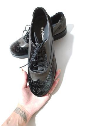 Туфли оксфорды броги бархатные, нат кожа