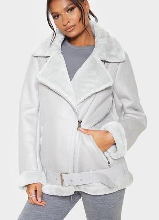 Цена договорная 🧨 ликвидация товара ☄️тёплая серая дубленка куртка авиатор оверсайз