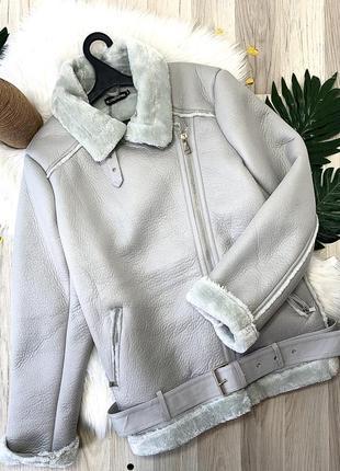 Тёплая серая дубленка куртка авиатор оверсайз7 фото