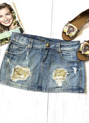 Очень крутая джинсовая мини юбка с золотыми паетками
