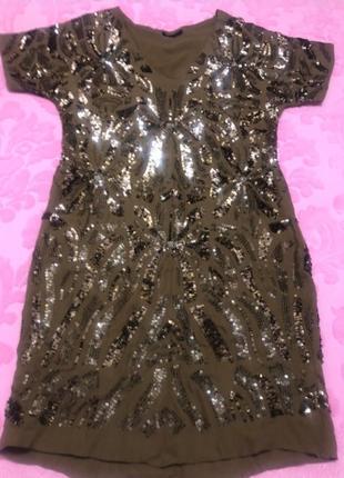 Платье шелковое massimo dutti в пайетках