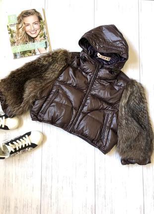 Пуховая укорочённая зимняя куртка с натуральным мехом canada gus
