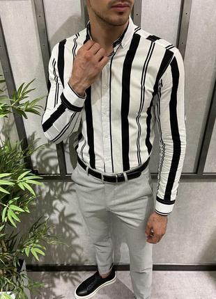 Рубашка мужская белая в чёрную полоску коттон