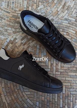 Черные кроссовки polo кеды кожаные туфли мокасины слипоны подростковые