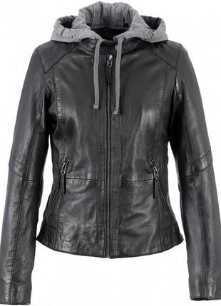 Новая кожаная куртка трансформер с отстегивающимся капюшоном oakwood, франция
