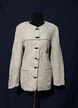 Винтажный пиджак 100%- лен этно, бохо стиль германия