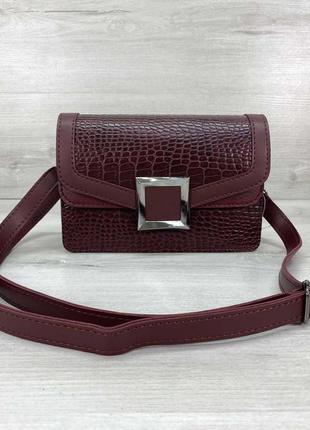 Женская сумка клатч «арни» бордовая ск1