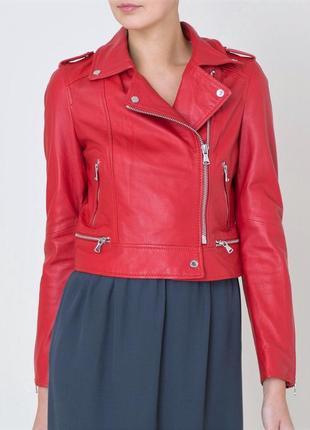 Новая кожаная косуха oakwood, франция 100% кожа красная куртка жакет кожанка