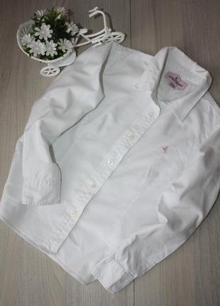 Стильная,белая, котоновая рубашка для девочки 6-7 лет