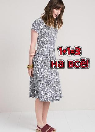 🎁1+1=3 стильное фирменное хлопковое платье миди в маленькие ромашки, размер 46 - 48