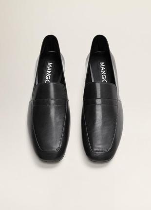 Лоферы mango кожаные кожа натуральная туфли балетки
