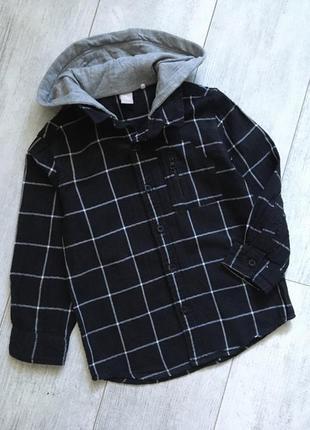 Утеплённая рубашка с капюшоном 5-6 лет байковая