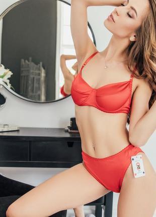 Комплект красного нижнего белья женского массажер 3д боди