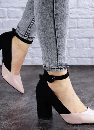 Женские туфли на каблуке розовые с черным tex 2029