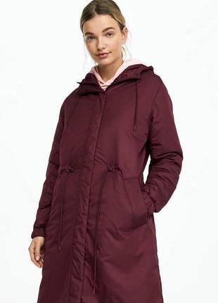 Пальто бордо миди куртка осень