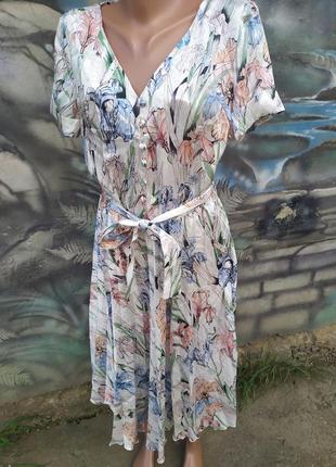 Платье миди в принт цветочный 100%шелк,плиссе,