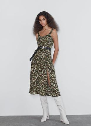 Новое платье сарафан с цветочным принтом zara