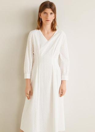Mango белое миди платье с вышивкой, м