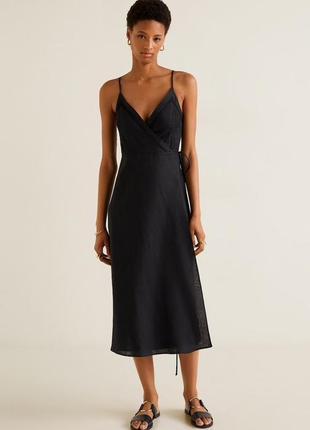 Mango чёрное платье миди лён с запахом на бретелях, м