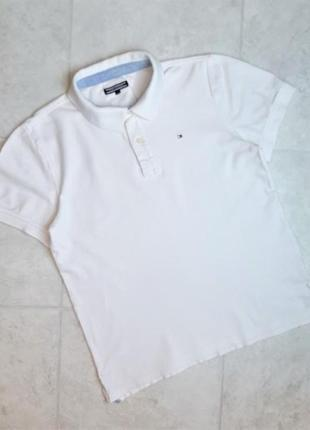 1+1=3 фирменная белая базовая футболка поло tommy hilfiger, размер 48 - 50