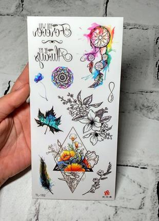 Флеш тату временные татуировки на тело, цветные флэш тату, переснималки, переводки