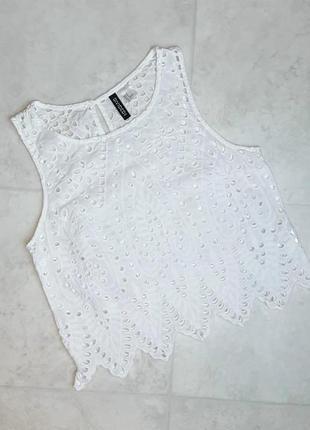 1+1=3 стильная белая блуза блузка топ с прошвой h&m, размер 44 - 46