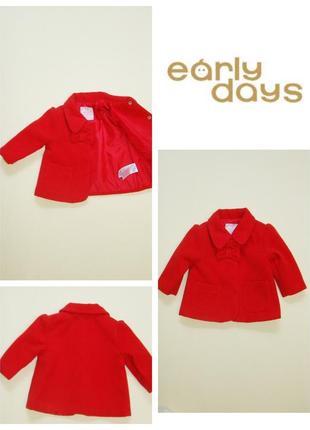Красное пальто early days by primark 0-6 мес