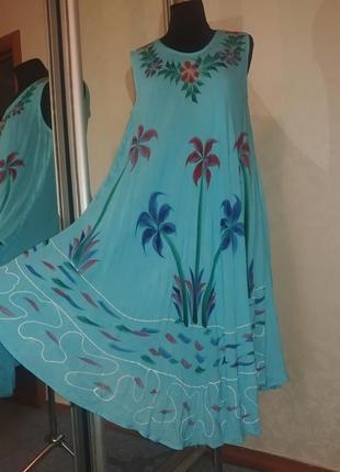 Хлопок ламбада платье сарафан оверсайз индия батал.