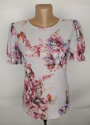 Блуза сеточка эластичная красивая в принт new look uk 10/38/s