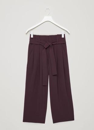 Брюки с оборками широкие штаны кюлоты с поясом завышенной талией цвета марсала