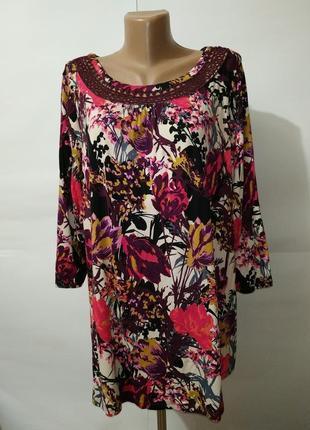 Блуза вискозная кружевная трикотажная в цветочный принт большой размер uk 20/48/3xl