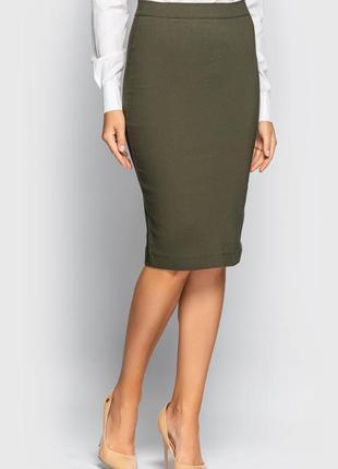 Стильная юбка-карандаш (хаки)