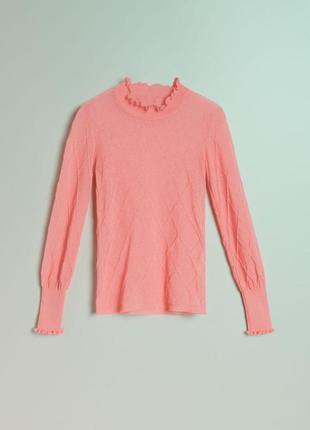 Стильная нежная кофта джемпер нежно розового цвета