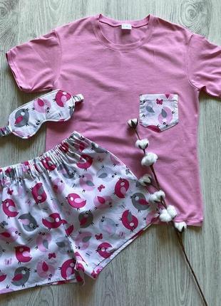 Пижама футболка трикотажная и хлопковые шорты