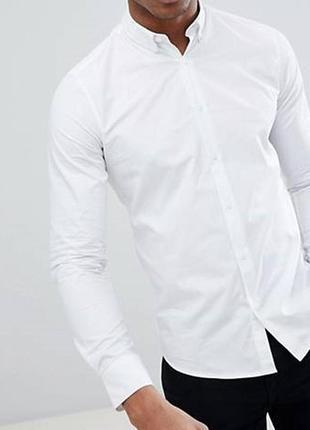 😉1+1=3 базовая белая рубашка сорочка с длинным рукавом h&m, размер 44 - 46
