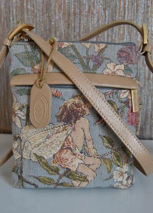 Кожаная * тканевая* сумка кроссбоди  smith & canova /сумка шкіряна