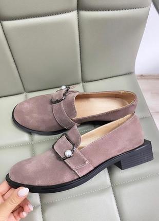 Туфли на низком каблуке кожа замш